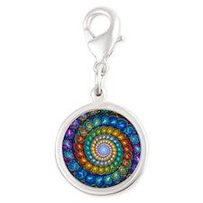 Fractal Spiral Beads Shirt Silver Round Charm