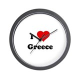 I Love Greece Wall Clock