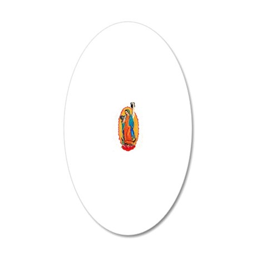 Virgin with Kettlebells 20x12 Oval Wall Decal