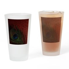 Glittery Red Peacock Drinking Glass