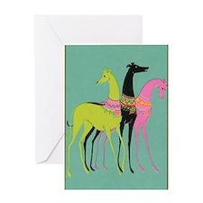Art Deco Ornate Greyhounds Greeting Card