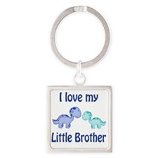 I love my Little Brother Dinosaur Square Keychain