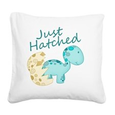 Just Hatched Blue Baby Dinosa Square Canvas Pillow