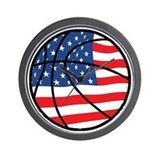 US Flag Basketball Wall Clock