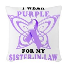 I Wear Purple for my Sister in Woven Throw Pillow