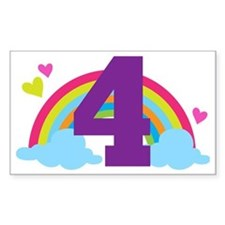 4th Birthday Rainbow Hearts Decal