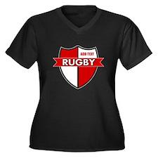 Rugby Shield White Red Women's Plus Size V-Neck Da