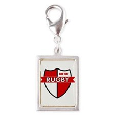 Rugby Shield White Red Silver Portrait Charm