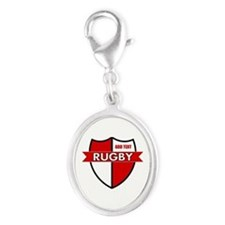 Rugby Shield White Red Silver Oval Charm