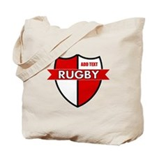 Rugby Shield White Red Tote Bag