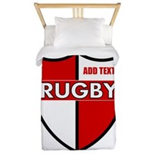 Rugby Shield White Red Twin Duvet