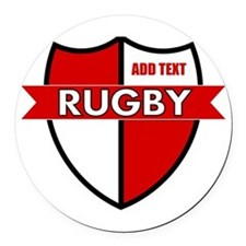 Rugby Shield White Red Round Car Magnet