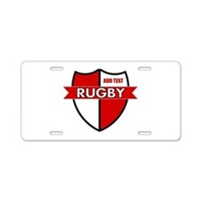 Rugby Shield White Red Aluminum License Plate