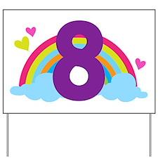 Rainbow 8th Birthday Yard Sign
