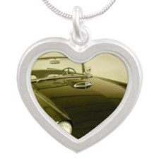 Black 1955 Ford Thunderbird Silver Heart Necklace