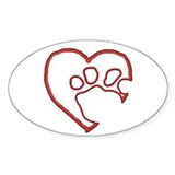 Hollow Paw in Heart Oval Decal