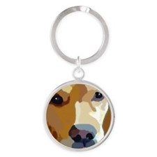 golden retriever Round Keychain