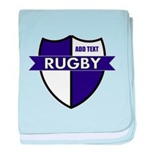 Rugby Shield White Purple baby blanket