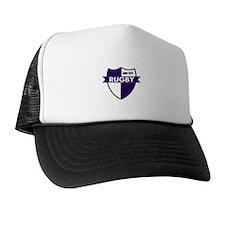 Rugby Shield White Purple Trucker Hat