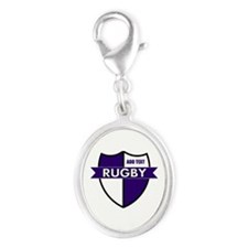 Rugby Shield White Purple Silver Oval Charm