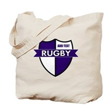 Rugby Shield White Purple Tote Bag