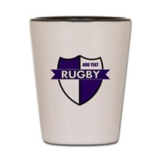 Rugby Shield White Purple Shot Glass