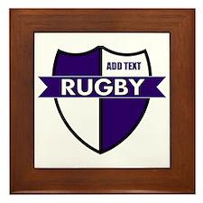Rugby Shield White Purple Framed Tile