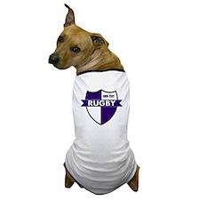 Rugby Shield White Purple Dog T-Shirt
