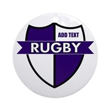 Rugby Shield White Purple Ornament (Round)