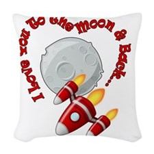 I love you to the moon and bac Woven Throw Pillow