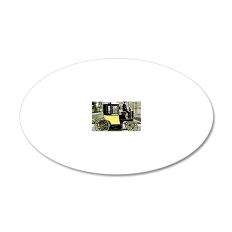 Early electric taxi cab 20x12 Oval Wall Decal