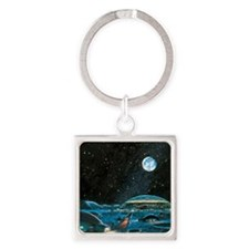 Earth seen above a city on the Moo Square Keychain
