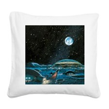 Earth seen above a city on th Square Canvas Pillow
