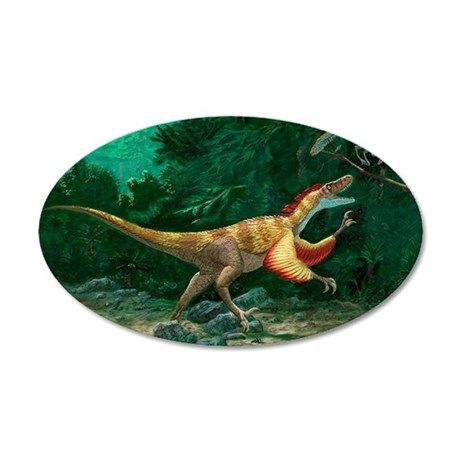 Feathered dinosaurs 35x21 Oval Wall Decal