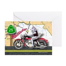 Siberian Husky Riding a Harley Motor Greeting Card