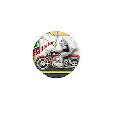 Siberian Husky Riding a Harley Motorcy Mini Button