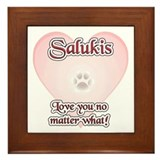 Saluki Love U Framed Tile