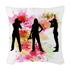 Photographer watercolor 3 dark Woven Throw Pillow