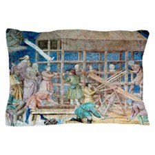 Building Noah's Ark, 14th century fres Pillow Case