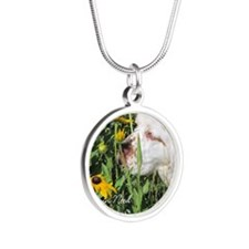 Clumber Spaniel Wall Calenda Silver Round Necklace