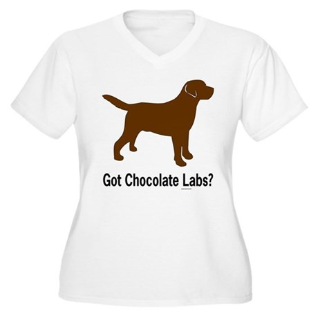 Got Chocolate Labs II Women's Plus Size V-Neck T-S