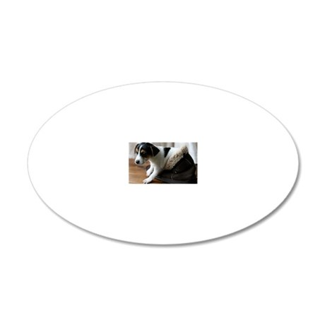 Puppy in Ugg Boot 20x12 Oval Wall Decal