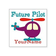 """Future Pilot - Personalized Square Sticker 3"""" x 3"""""""