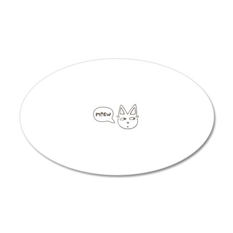 Cute Kitty Saying Meow 20x12 Oval Wall Decal