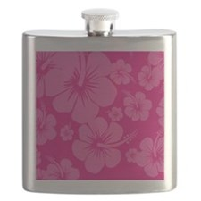 Pink Hibiscus Hawaii Print Flask