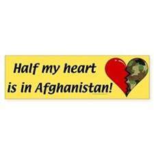 Half My Heart Is In Afghanistan Bumper Bumper Sticker