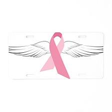 Pink Angel Wings Aluminum License Plate