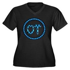 OT PENDANT B Women's Plus Size Dark V-Neck T-Shirt