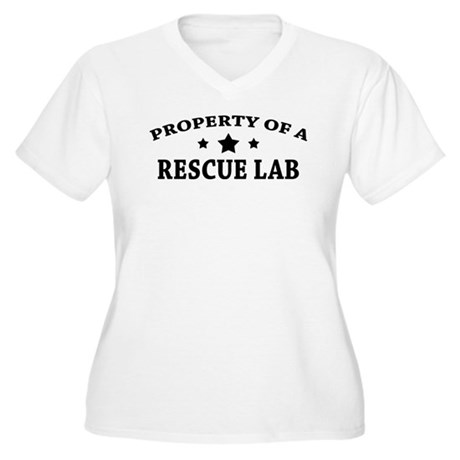 Property of a Rescue Lab Women's Plus Size V-Neck