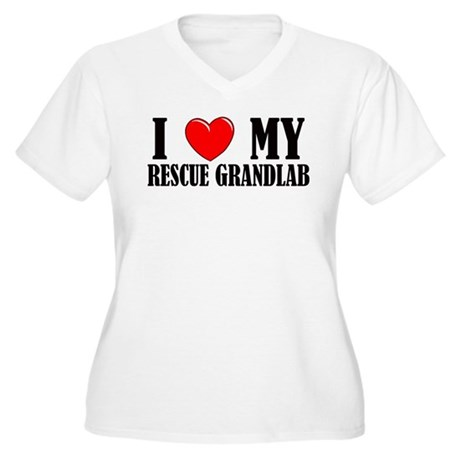 Rescue Grandlab Women's Plus Size V-Neck T-Shirt